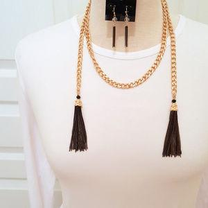 Wrap Around Gold Tone Black Tassel Necklace Set